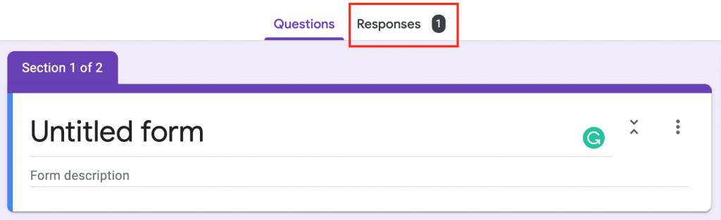 google forms responses tab